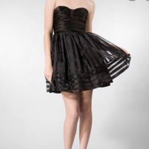 Betsey Johnson strapless black organza dress